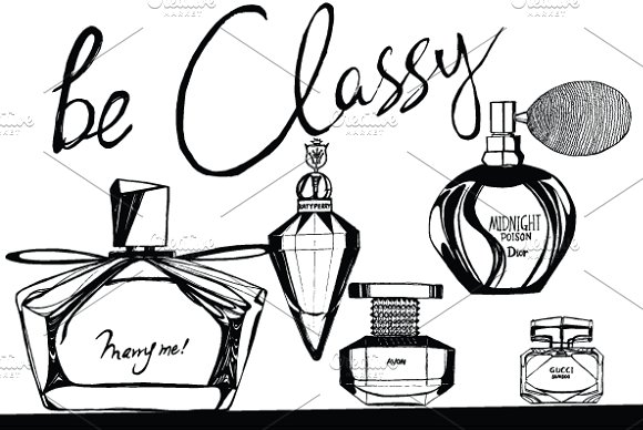 Perfume Bottle Sketch Design: