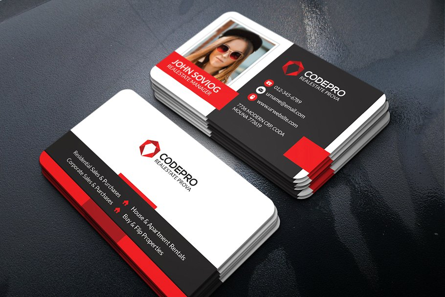 Photo Print Realistic Business Card With Details Section