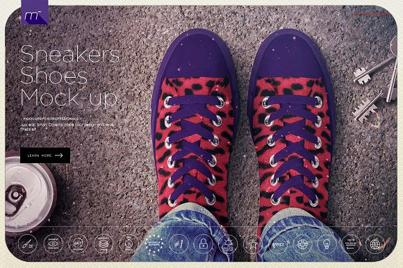 Photo realistic Sneakers Shoe Design Template in PSD