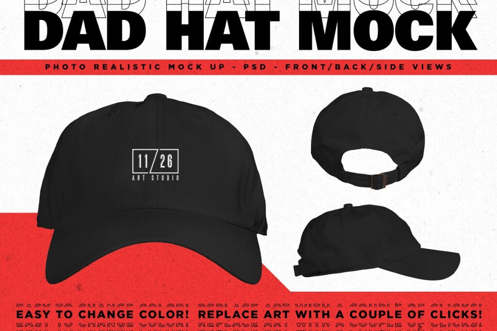 PhotorealisticDad Hat Mockup Front/Back And Side View