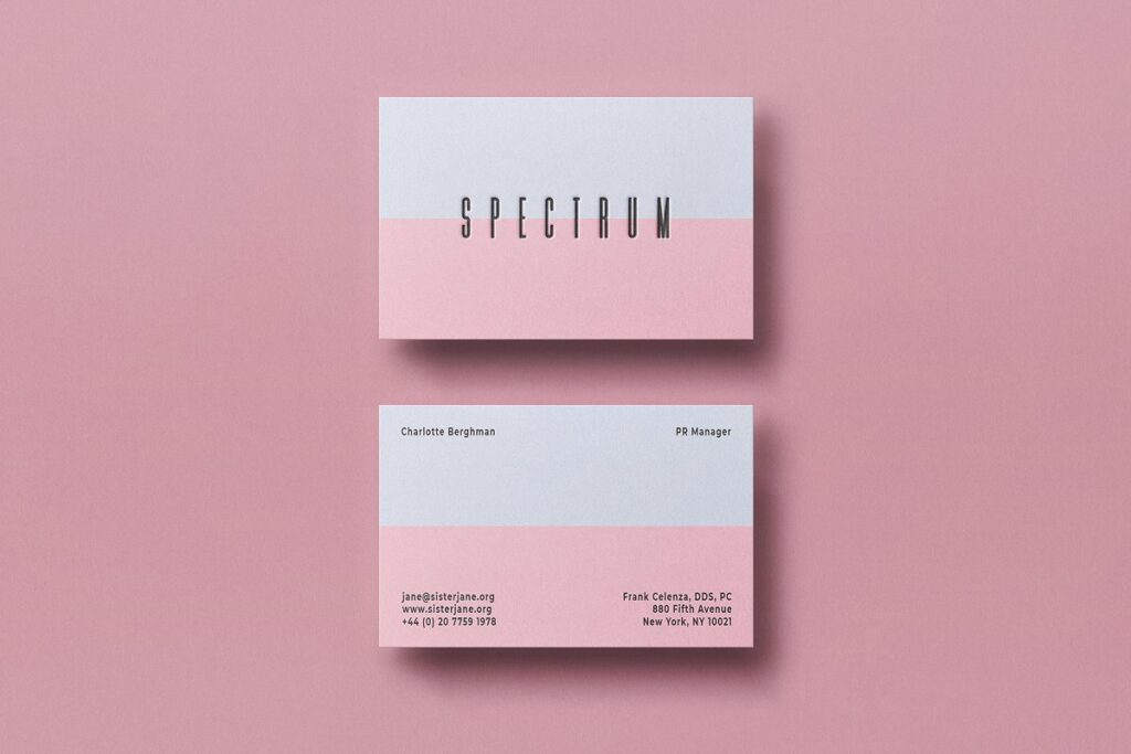 Pink And White Color Business Card Mockup With Front And Back View