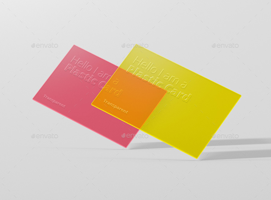 Pink And Yellow Color Transparent Text Embossed Business Card