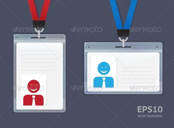 Plastic Badges Id Card Mockup Vector.