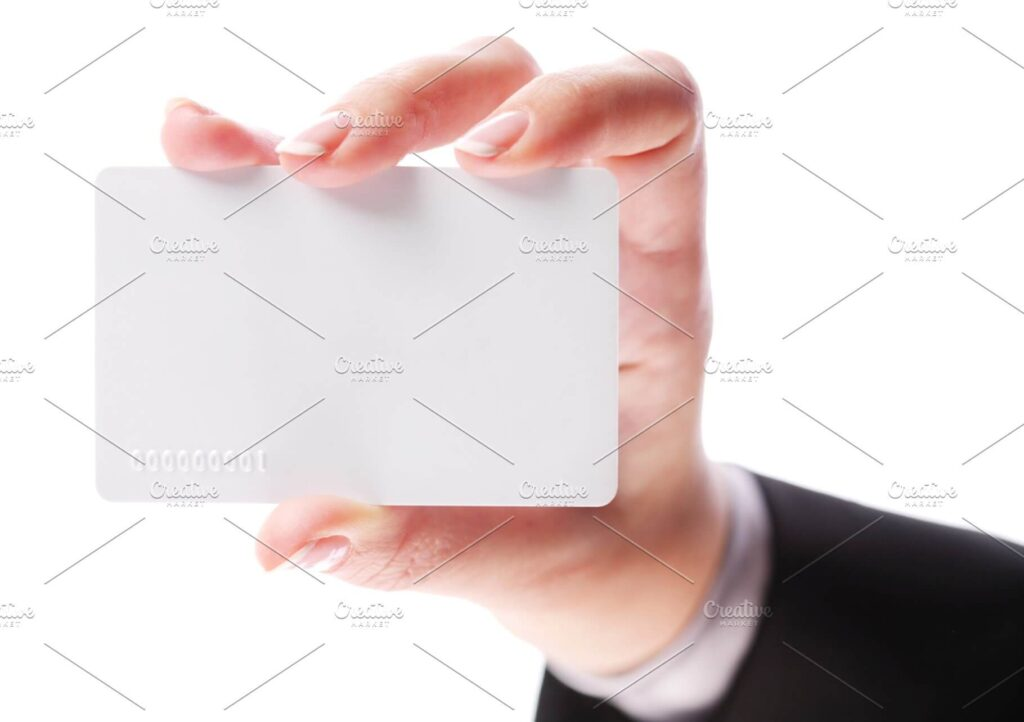 Plastic Card In The Hand Of Women Design Template.