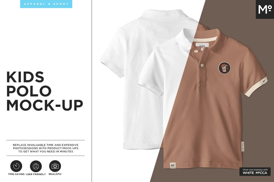 Polo T-shirts For Kids Mockup.