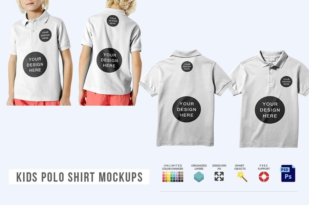 Polo T-shirts For Kids PSD Mockup.