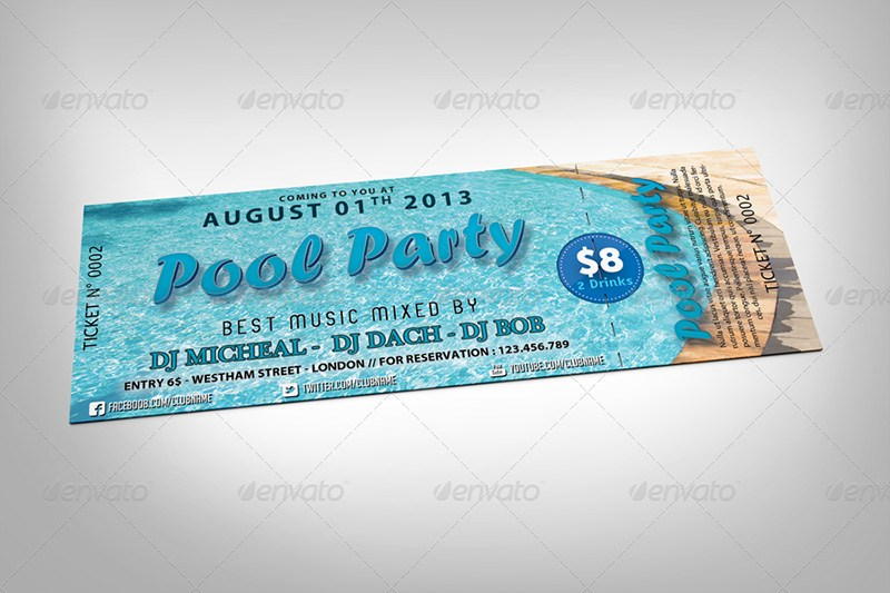 Pool Party Event Tickets PSD Mockup
