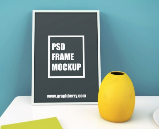 Poster on Table PSD Mockup