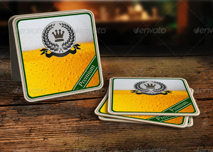 Premium Drink Coaster Template Mockup PSD.
