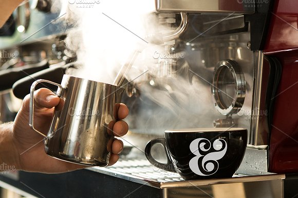 Preparation of Coffee in a Cafe