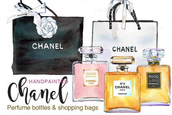 Printable Perfume Bottles With Shopping Bags: