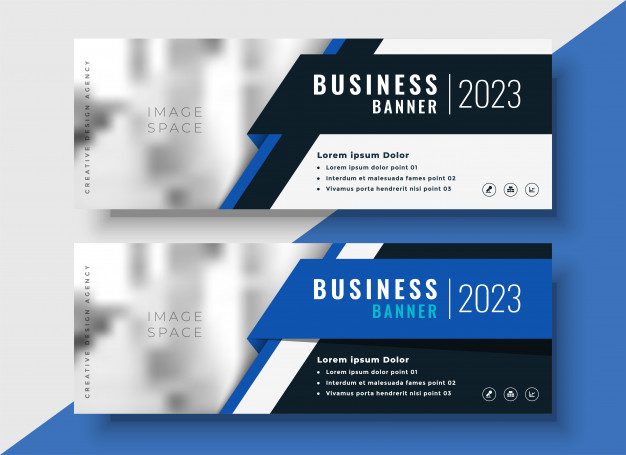 Professional Blue Business Web Banners Mockup