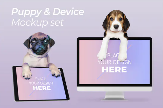 Puppy And Computer Screen PSD Template