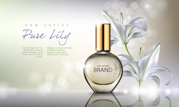 Pure Lily Perfume Bottle PSD Mockup Vector: