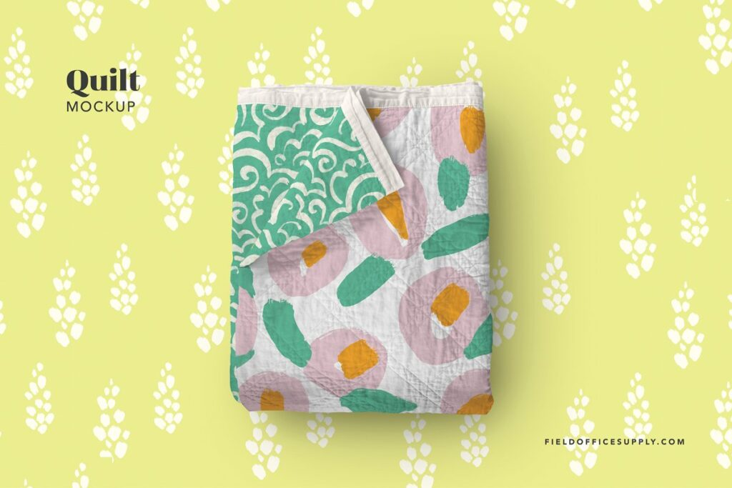 QuiltBlanket In A Yellow Background PSD Template.