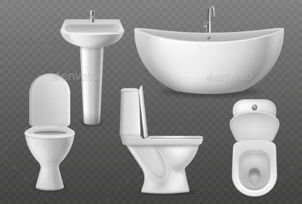 Realistic Bathroom Objects White Collection