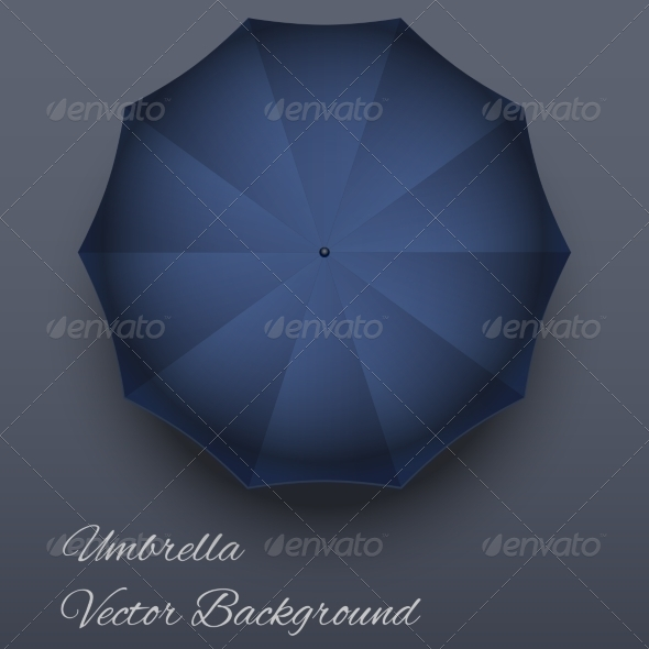 Realistic Blue Colored Umbrella Mockup.