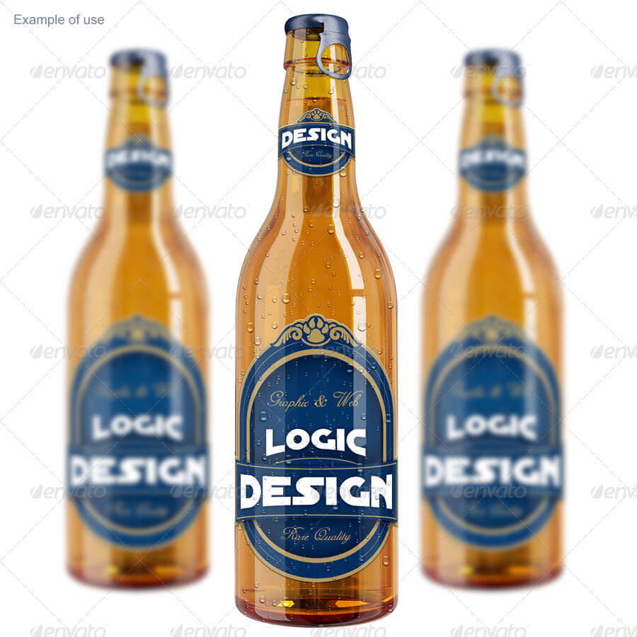 Realistic Bottle Beer Mockup PSD:
