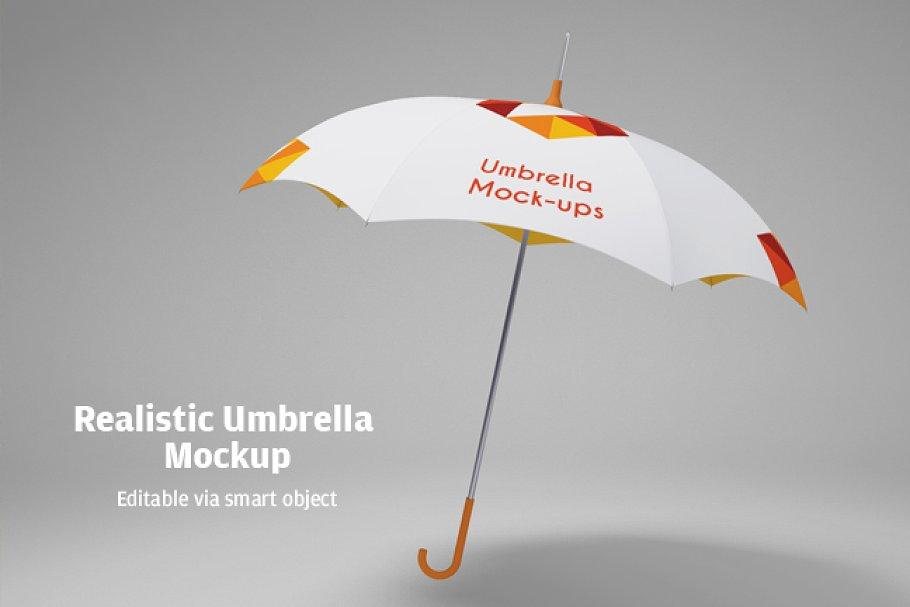 Realistic Colorful Umbrella PSD Mockup.