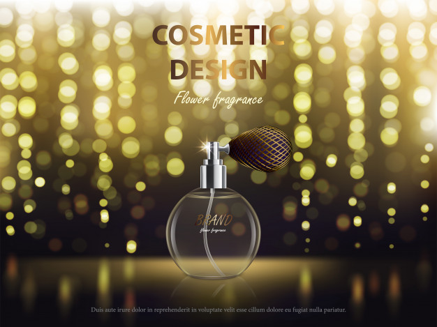 Realistic Oval Perfume Bottle Vector: