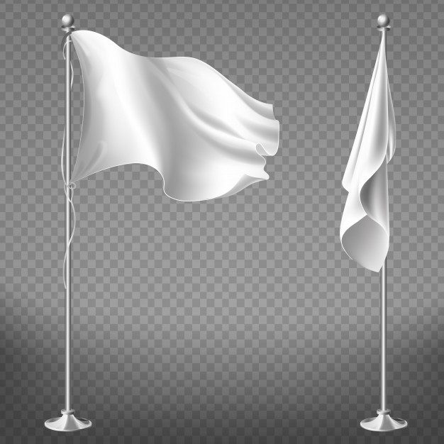 Realistic White Flag Vector.