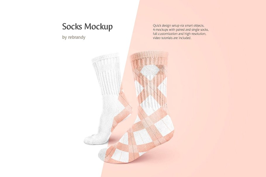 Realistic designs Of Socks Mockup.