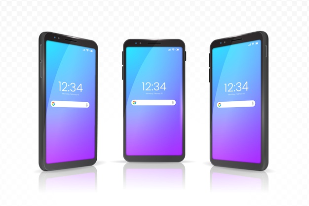 Realistic smartphone with case in different views Free Vector