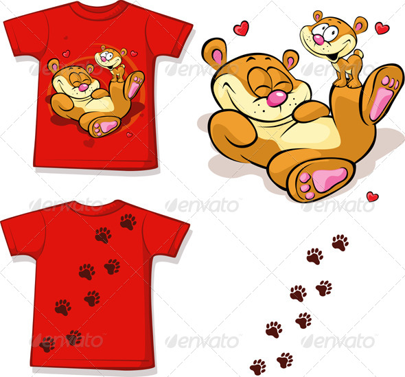 Red Colored T-shirt With Bear Printed Mockup.