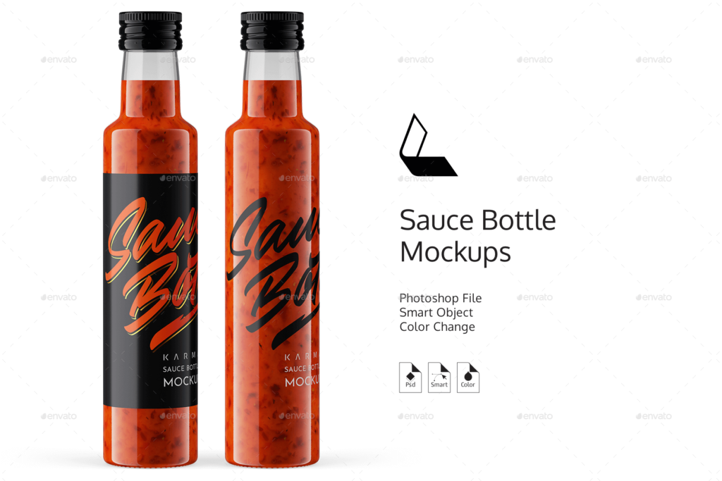 Red Sauce Bottle Mockup