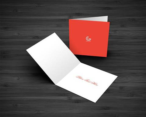 Red and White Color Editable Greeting Card Mockup