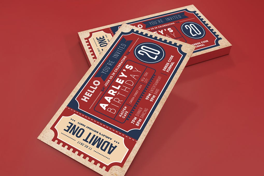Retro & Vintage Style Print Ticket