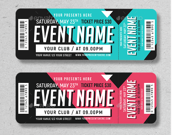 Retro look Event Ticket Template Mockup