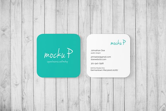 Round Edged Square Business Card Design template in PSD