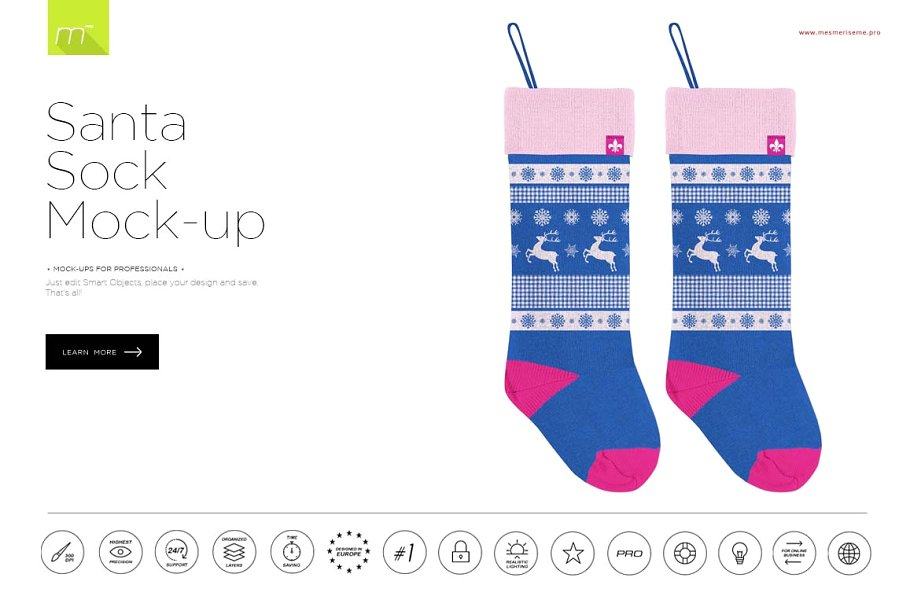 Santa Socks PSD Template.