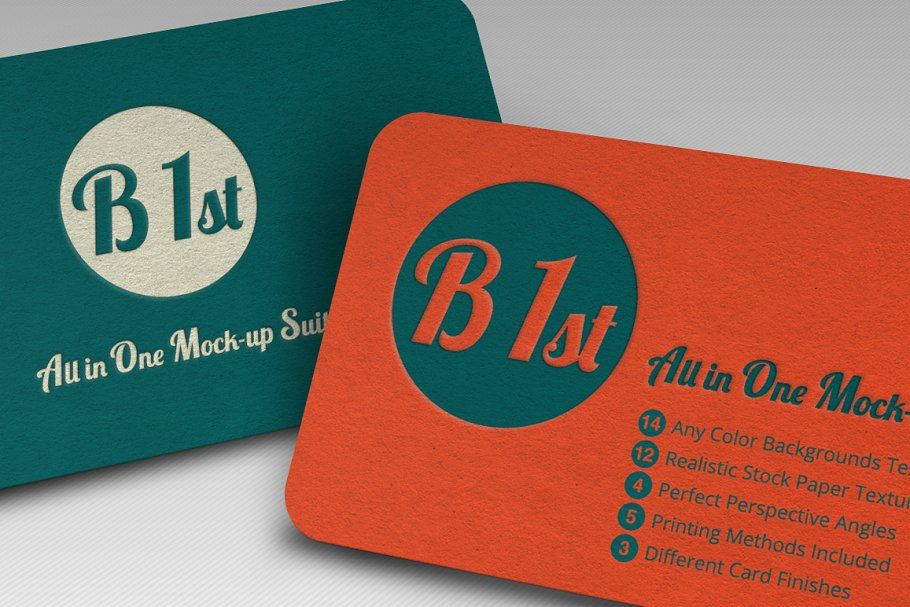 Sap Green And Orange Color Business Card Set With Round Stamp Print