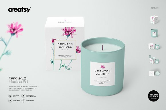 Scented Candle with Box Design PSD