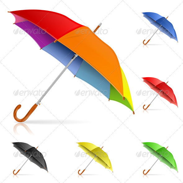 Sets Of Multicolored Umbrella PSD Mockup.
