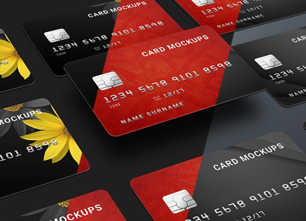 Seven Different Designs Of Credit Card Mockup.