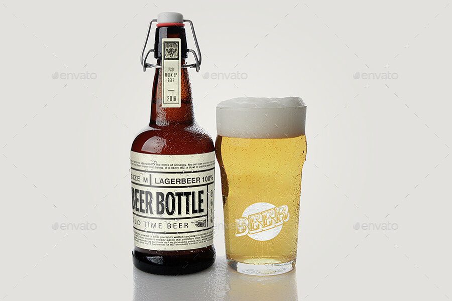 Short Beer Bottle with Glass PSD Mockup: