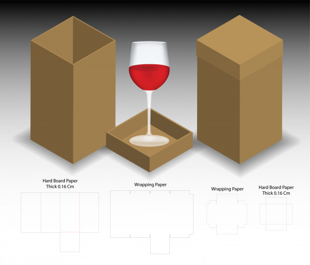 Simple Cardboard Wine Box Vector File Format