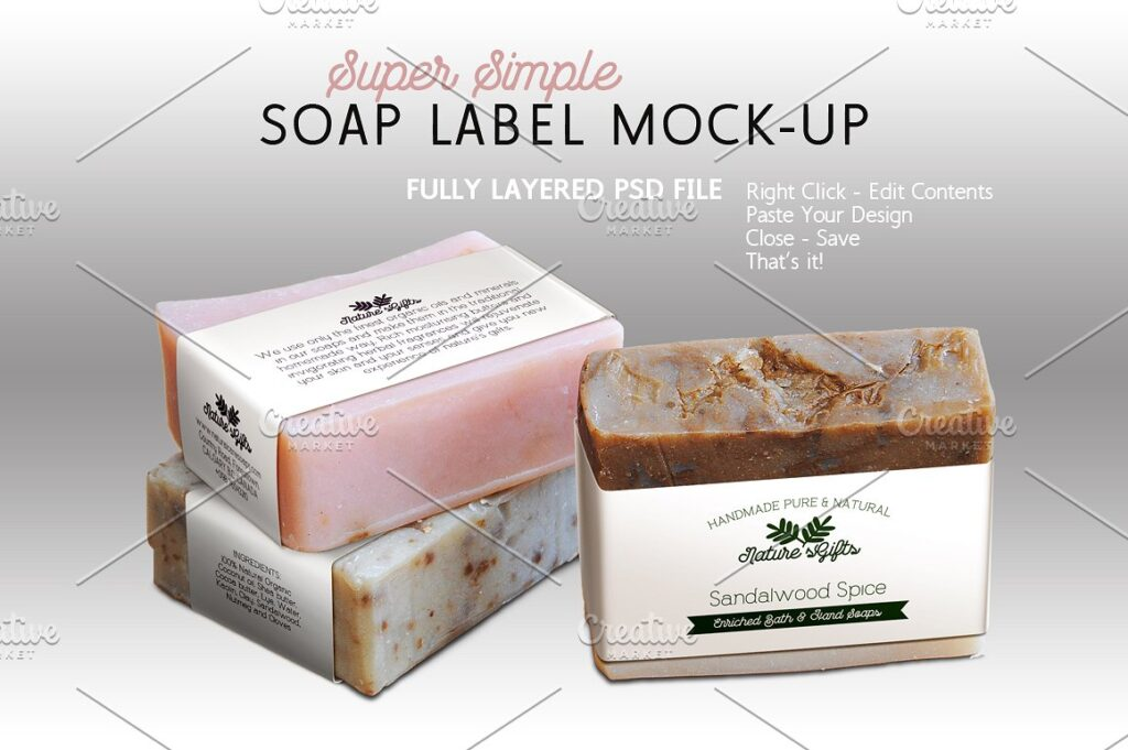 Simple Soap Label Box Mockup