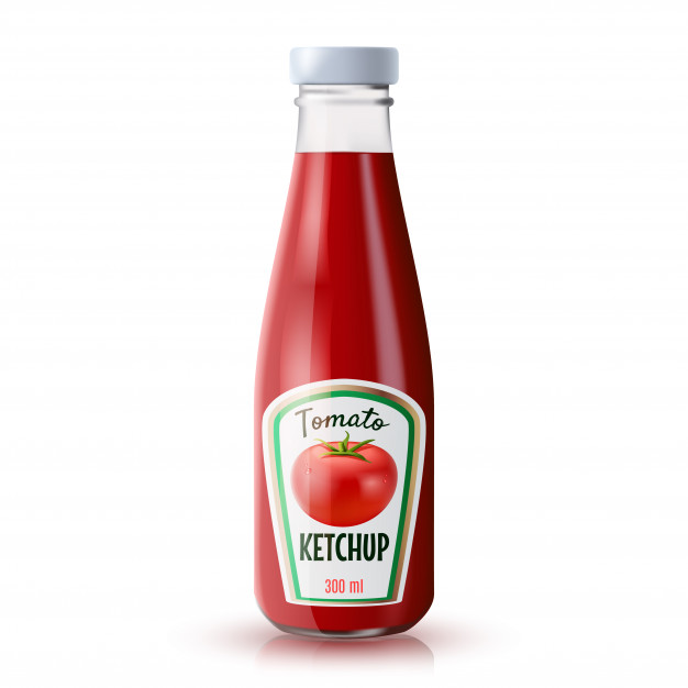 Single Ketchup Bottle Vector Design Illustration