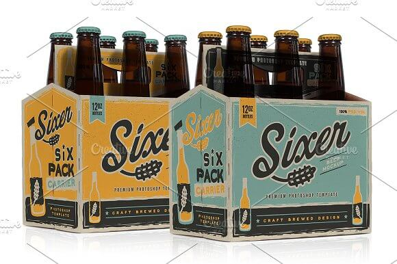 Six in one beer mockup: