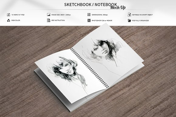 Sketching Notebook PSD Template