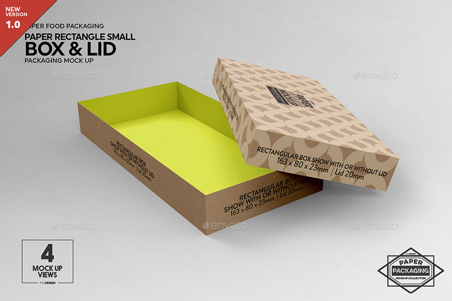 Small Rectangular Paper Box and Lid Packaging Mockup