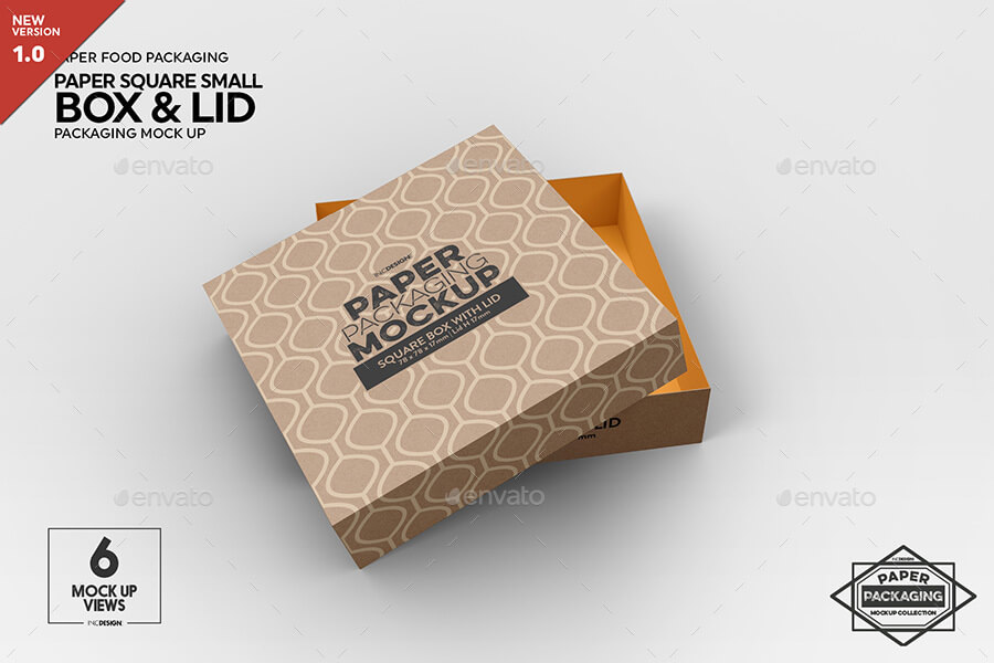 Small Square Paper Box and Lid Packaging Mockup