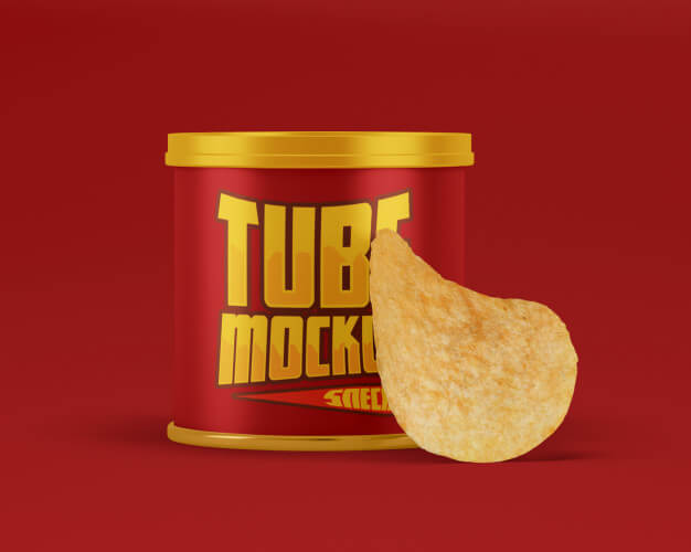 Snack paper tube with chips mockup Premium Psd