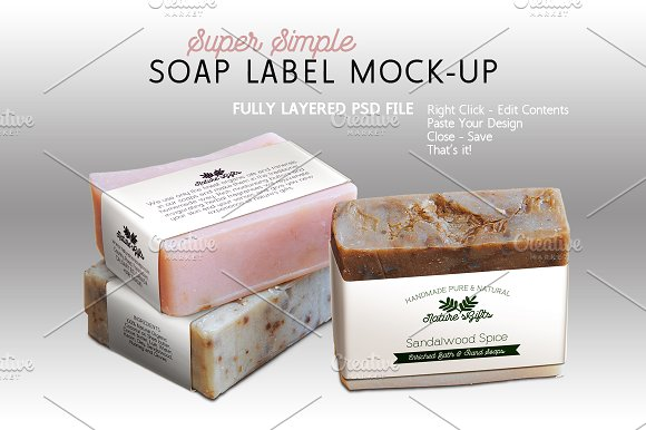 Soap With Label PSD Design