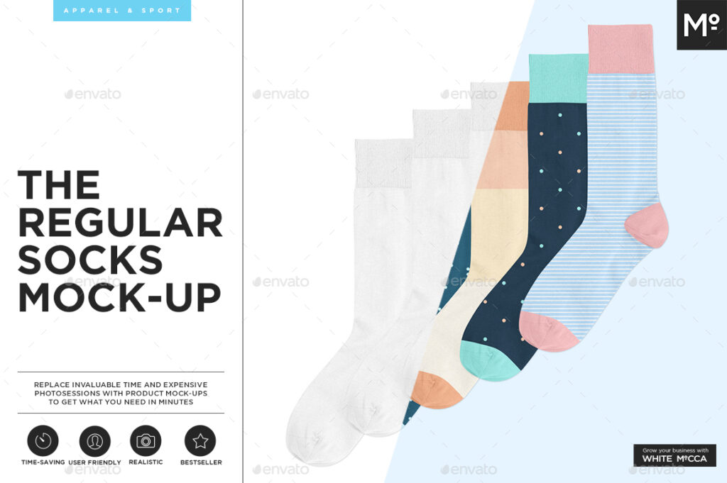Socks For Regular Use Mockup.