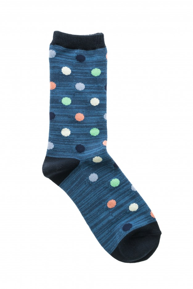 Socks In Blue Color With Prints PSD Mockup.